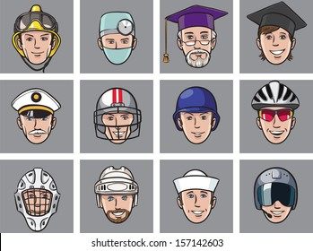 Vector illustration of cartoon avatar faces job occupations. Easy-edit layered vector EPS10 file scalable to any size without quality loss. High resolution raster JPG file is included.