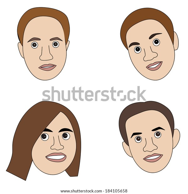 Vector Illustration Cartoon Avatar Human Faces Stock Vector