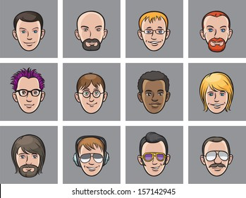 Vector illustration of Cartoon avatar men faces. Easy-edit layered vector EPS10 file scalable to any size without quality loss. High resolution raster JPG file is included.