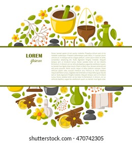 Vector illustration with cartoon ayurveda background. Wellness therapy, health and body care, spa alternative medicine.