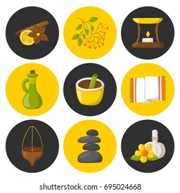 Vector illustration with cartoon ayurveda icons. Wellness therapy, health and body care, spa alternative medicine. Vector cartoon ayurveda icons. Relaxation, ayurvedic medicine vector icons