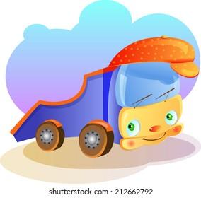 vector illustration cartoon baby car transport toy