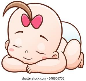Vector Illustration of Cartoon Baby sleeping