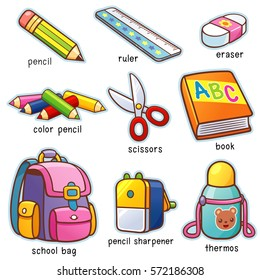 Vector illustration of Cartoon Back to school vocabulary