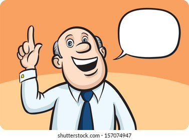Vector illustration of cartoon bald businessman with speech bubble. Easy-edit layered vector EPS10 file scalable to any size without quality loss. High resolution raster JPG file is included.