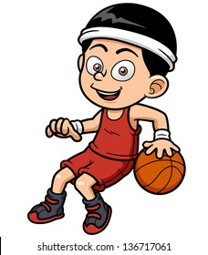 Vector illustration of cartoon basketball player