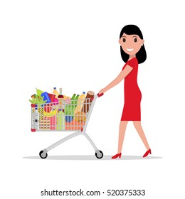 Vector illustration of a cartoon of a beautiful woman with a shopping trolley full of groceries. Female in the supermarket to buy food, meal and drinks. Side view. Flat style. Girl with shopping cart.