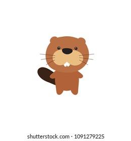 Vector illustration of cartoon beaver