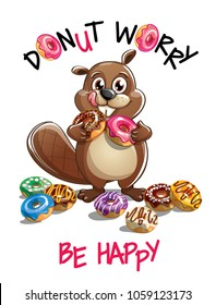 Vector illustration of cartoon beaver with donuts.