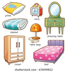 Vector illustration of Cartoon Bedroom element vocabulary