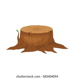 Vector Illustration of a cartoon big tree stump with roots and some blades of grass. Tree Stump.