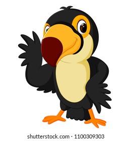 vector illustration of Cartoon bird toucan posing