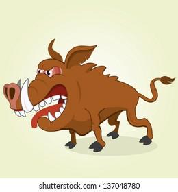 Vector Illustration of Cartoon Boar