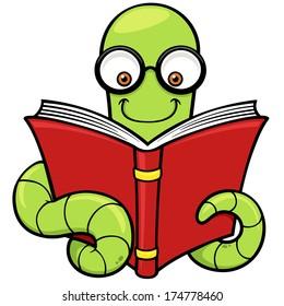 Vector illustration of Cartoon book worm