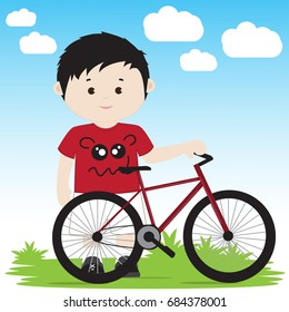 Vector illustration of a cartoon boy with a bicycle on a green lawn