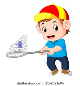 vector illustration of Cartoon boy is catching dragonfly
