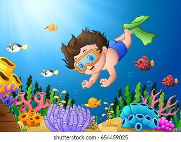 Vector illustration of Cartoon boy diving in the sea