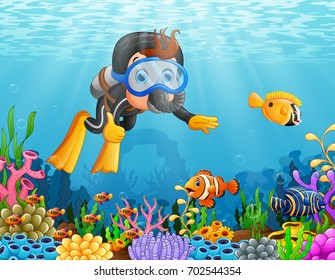 Vector illustration of Cartoon boy diving in the sea