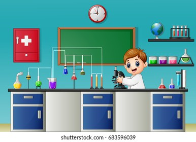 Vector illustration of Cartoon boy experimenting with microscope in the chemical lab