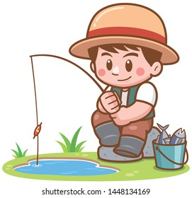 Vector illustration of Cartoon Boy fishing