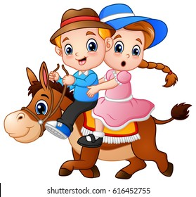 Vector illustration of Cartoon boy and girl riding a horse