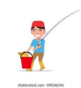 Vector illustration of a cartoon boy going with a fishing rod, a bucket and fish.