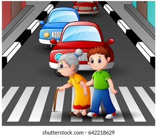 Vector illustration of Cartoon boy helps grandma crossing the street