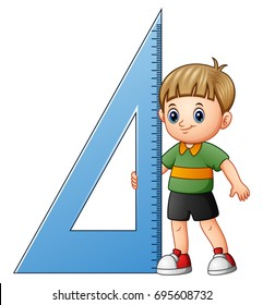 Vector illustration of Cartoon boy holding triangle ruler