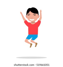 Vector illustration of a cartoon boy jumping of happiness. Picture isolated on white background. Flat style. Joyful fun bouncing male child. Teenager leaping for joy. Happiness emotion.