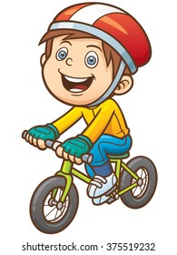 Vector illustration of Cartoon boy on a bicycle