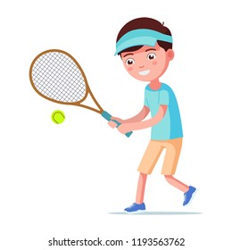 Vector illustration of a cartoon boy playing tennis. Isolated white background. A child beats a tennis ball with a racket. Kid beats the ball with a racquet. Flat style.