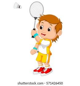 vector illustration of Cartoon boy playing badminton