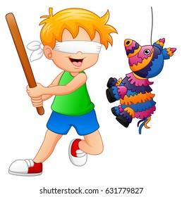 Vector illustration of Cartoon boy playing a pinata