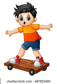 Vector illustration of Cartoon boy playing skateboard