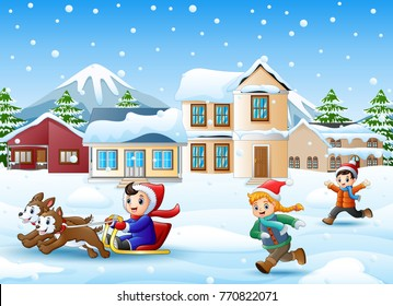 Vector illustration of Cartoon boy riding sled on the snowing village with running kids