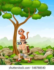 Vector illustration of Cartoon boy using binoculars with a monkey over her head in the forest