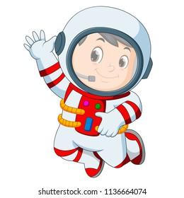vector illustration of Cartoon boy wearing astronaut costume
