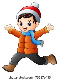 Vector illustration of Cartoon boy wearing winter clothes
