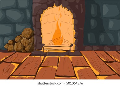 Vector illustration of a cartoon burning fireplace, wooden floor and stone walls interior