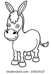 Vector illustration of Cartoon burro - Coloring book