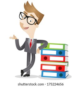 Vector illustration of a cartoon businessman leaning against a stack of binders with explaining gesture (JPEG also available).