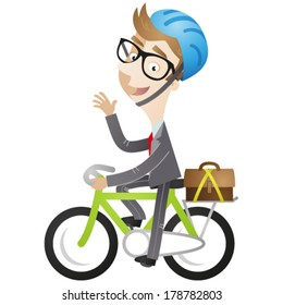 Vector illustration of a cartoon businessman riding his bike on the way to work.