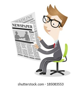 Vector illustration of a cartoon businessman sitting on his office chair reading the newspaper.