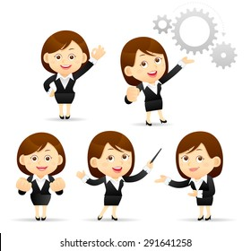 Vector Illustration of cartoon businesswoman set