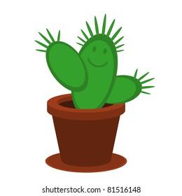 Vector illustration of cartoon cactus