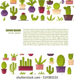 Vector illustration with cartoon cactus background. Vector house plant in flowerpot, home interior background. Desert mexican succulent. Home flowers cartoon indoor objects. Travel to Mexico icon
