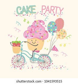 Vector illustration of cartoon cake and berry with handes and legs drawn in kawaii anime style on bike with basket polka dot ballons, lettering cake party, happy Birthday greeting card, invitation