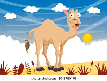 Vector Illustration Of Cartoon Camel