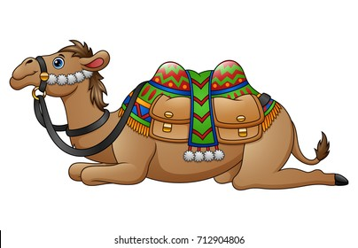 Vector illustration of Cartoon camel with saddle