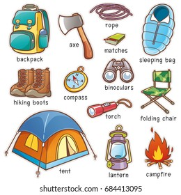 Vector illustration of Cartoon Camping equipment vocabulary